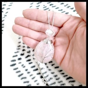 Genuine Rose Quartz Sterling Silver Necklace